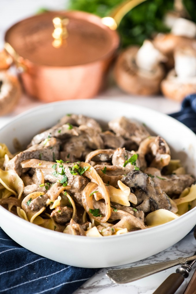 Easy beef stroganoff recipe in white bowl