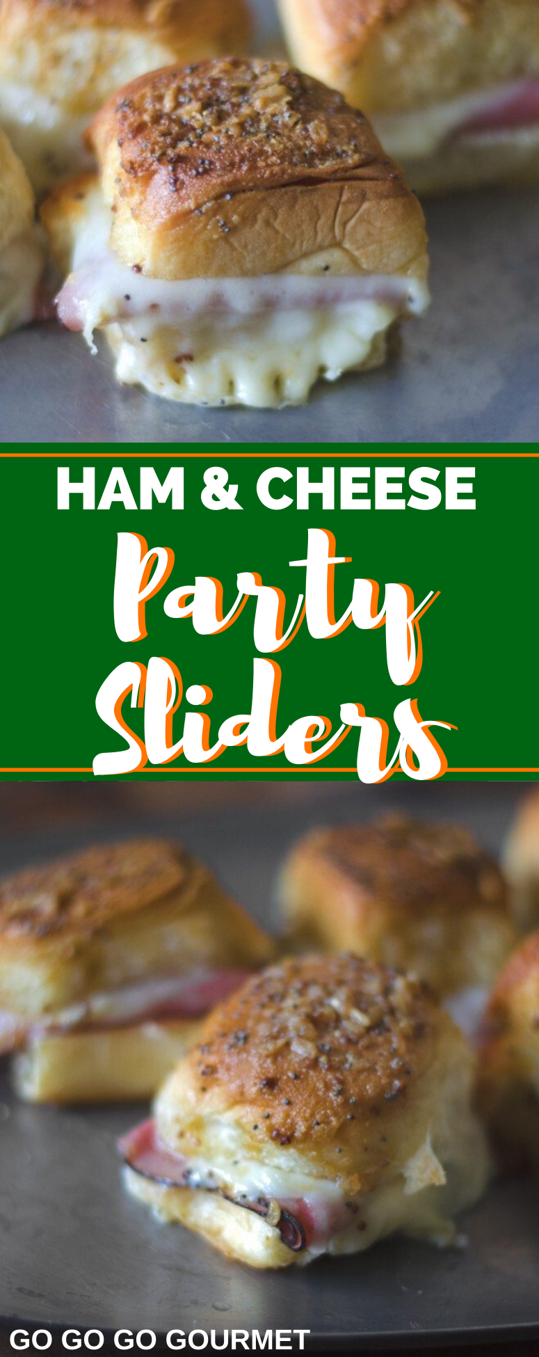 These hot little ham and cheese sliders baked on Hawaiian buns are so easy to make for a crowd as a holiday appetizer or party! The brown sugar and onion topping is killer! #gogogogourmet #appetizersforacrowd #ham #appetizer #appetizerfood via @gogogogourmet