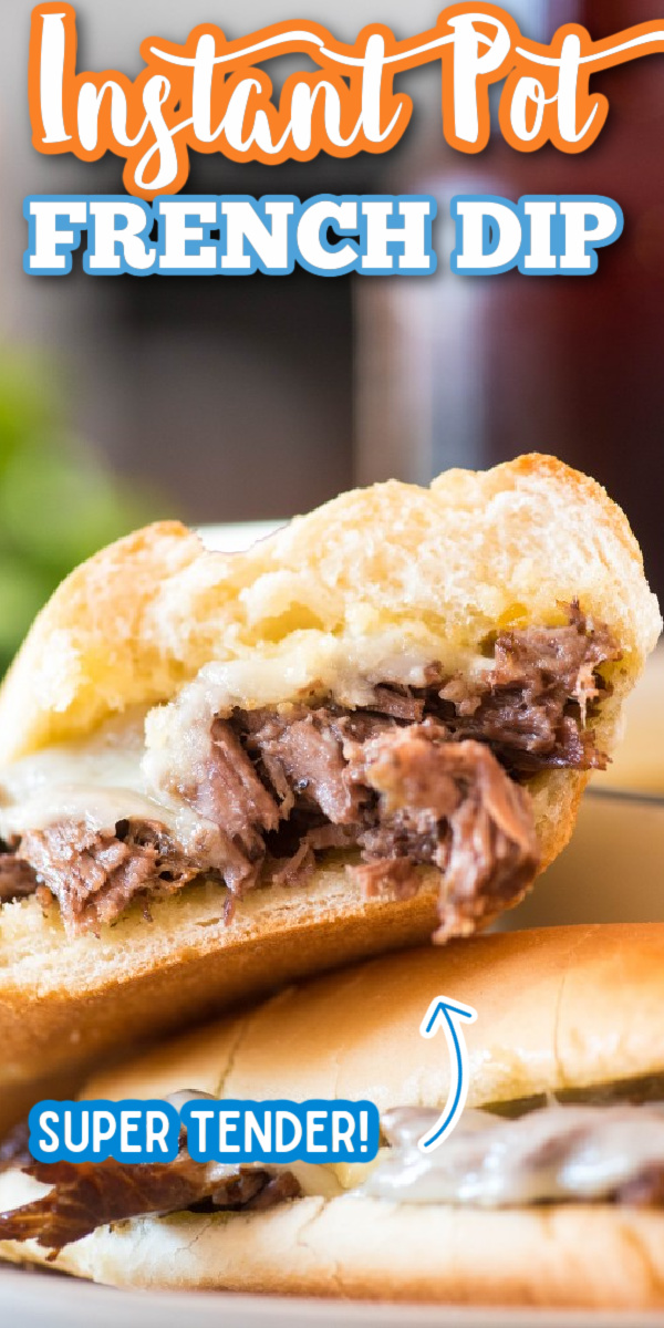 Forget the crock pot, this Instant Pot French Dip Sandwich recipe is made easy! Complete with an au jus dipping sauce, it's the best sandwich out there! It would be delicious made into sliders, too! #frenchdip #instantpot #instantpotrecipes #frenchdipsandwich #gogogogourmet via @gogogogourmet