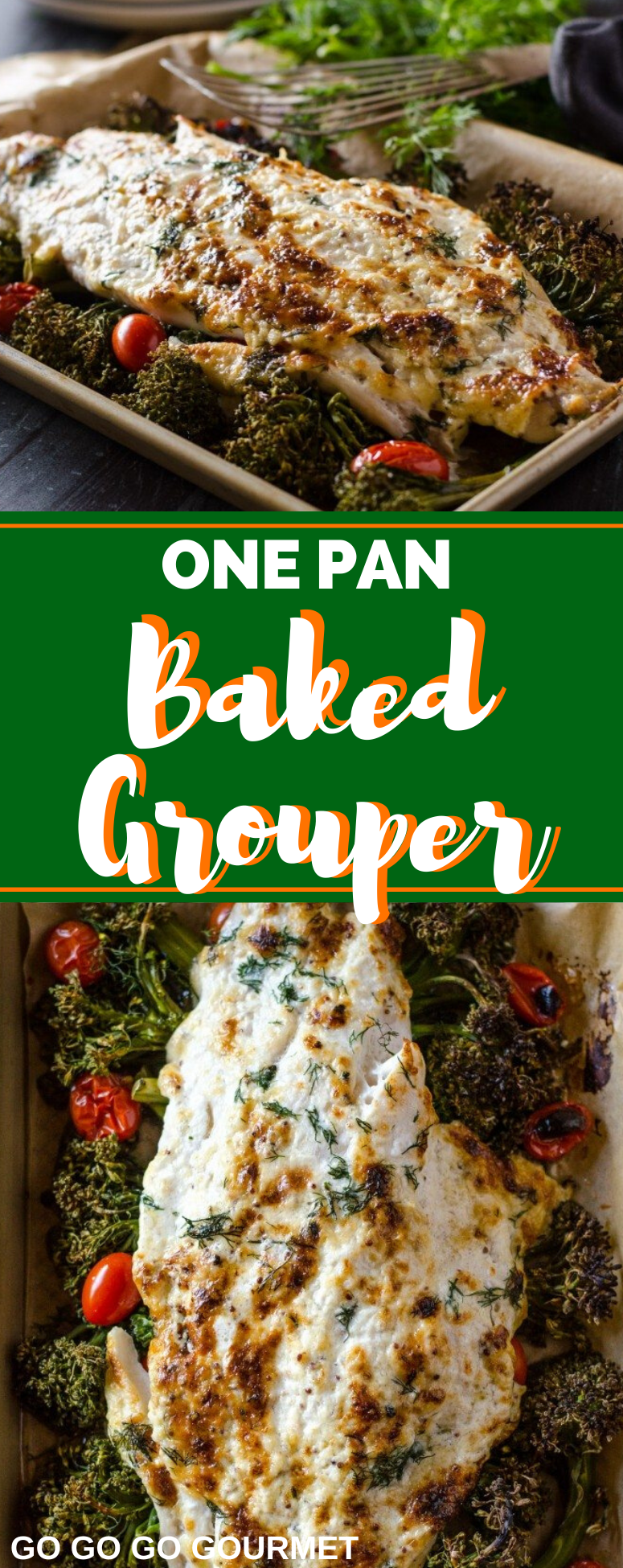 This One Pan Baked Grouper is the perfect fish recipe for Lent! It's baked right in the oven with a delicious sauce to make a flavorful meal that everyone will love! #fishfriday #lentendinner #seafoodrecipes #weeknightdinner #gogogogourmet via @gogogogourmet