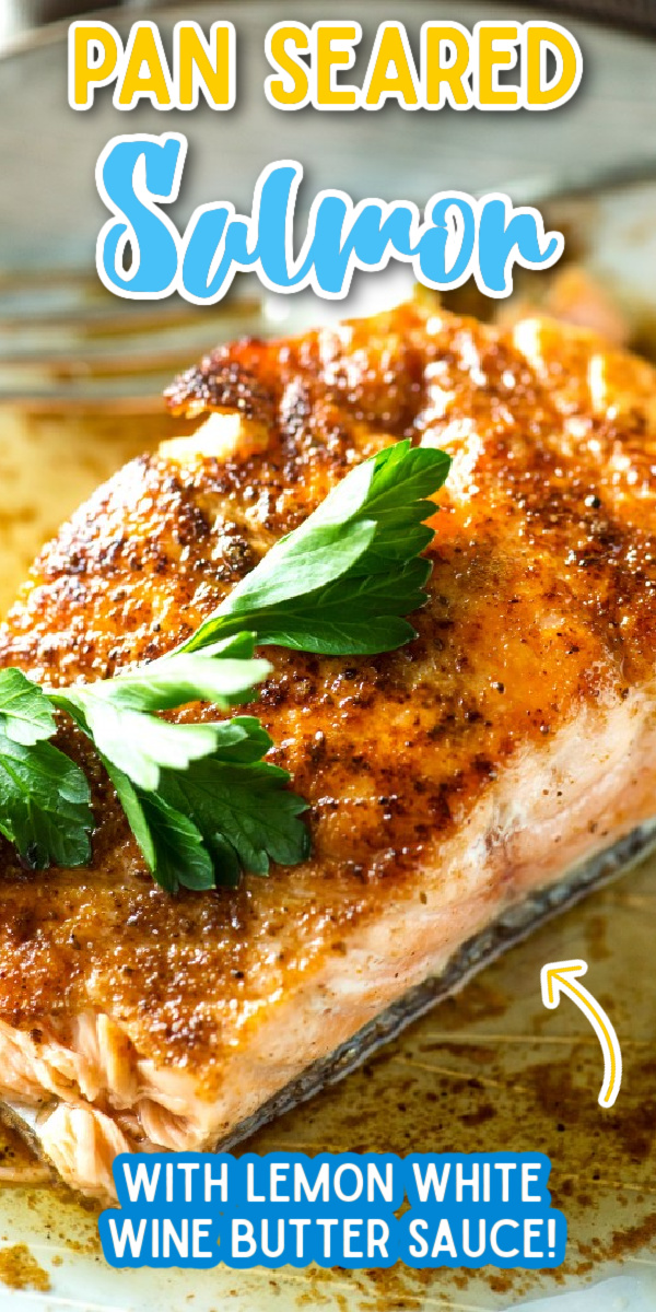 This Pan Seared Salmon with Lemon White Wine Butter Sauce is a fast and easy salmon recipe for busy weeknights. #gogogogourmet #pansearedsalmon #seafooddinner #salmonrecipes via @gogogogourmet
