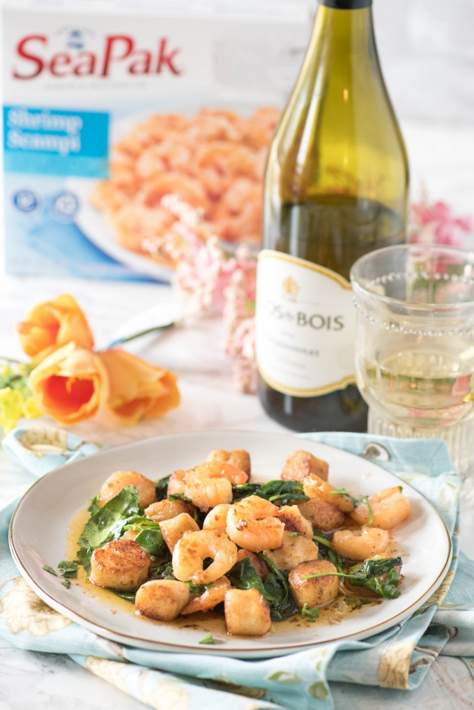 SeaPak Shrimp Scampi with Spinach and Gnudi, paired with Clos Du Bois Chardonnay
