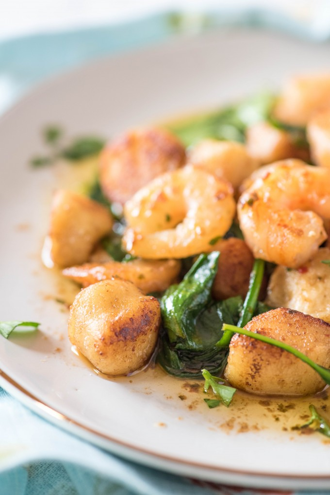 Shrimp Scampi with ricotta gnudi recipe