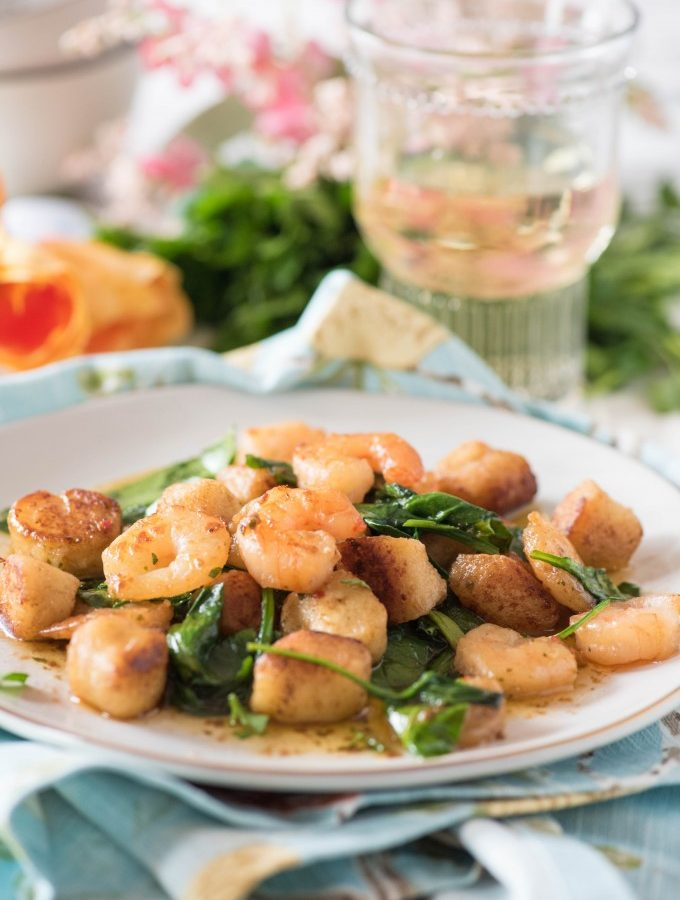 easy gnudi recipe with shrimp scampi and spinach