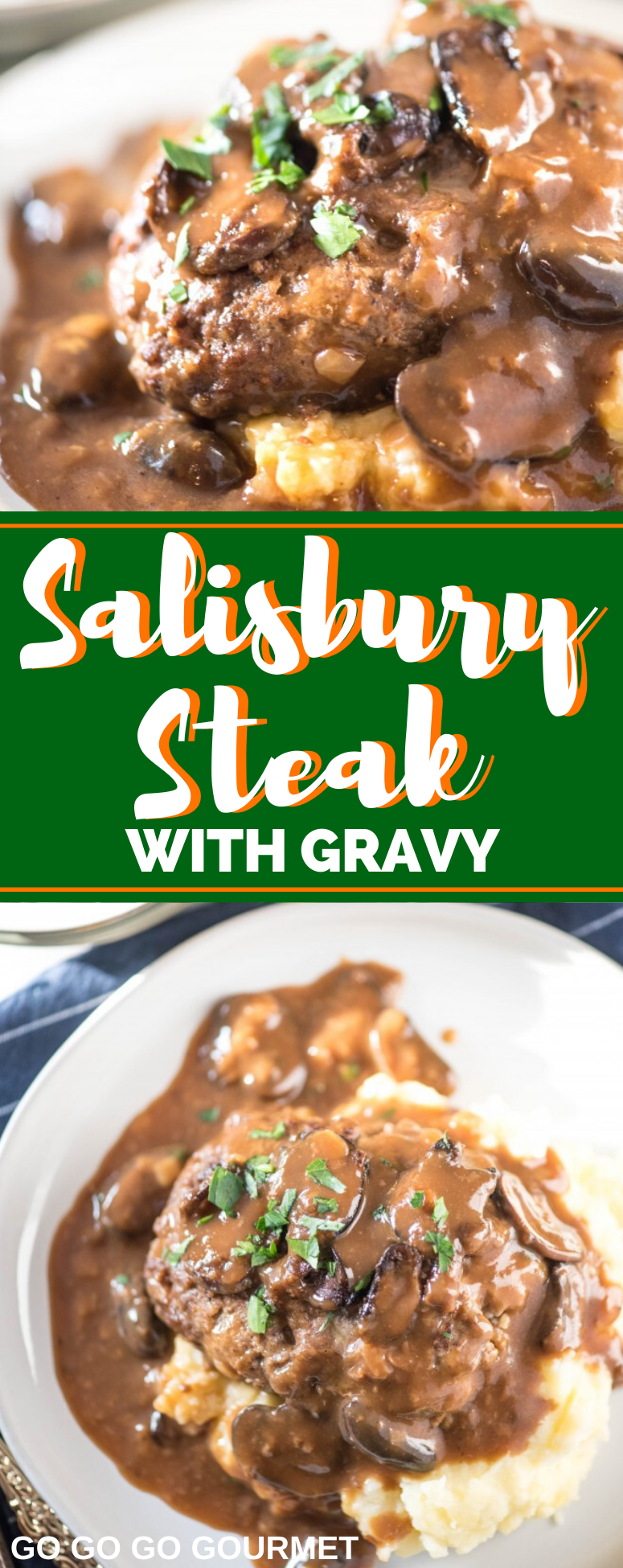 This Easy Salisbury Steak is so delicious, it even rivals the Pioneer Woman recipe! Serve it alongside a potato casserole for a dinner that everyone will love! #salisburysteak #pioneerwomansalisburysteak #comfortfood #gogogogourmet via @gogogogourmet