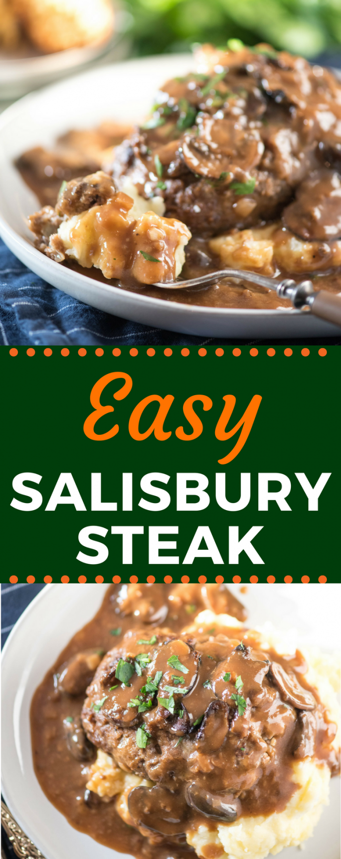 This Easy Salisbury Steak is so delicious, it even rivals the Pioneer Woman recipe! Serve it alongside a potato casserole for a dinner that everyone will love! #salisburysteak #pioneerwomansalisburysteak #comfortfood #gogogogourmet