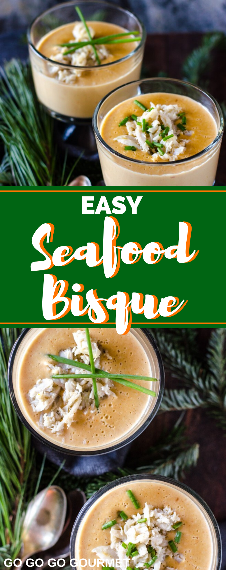 This Easy Seafood Bisque recipe is chock full of crab and shrimp! When you're craving a creamy and comforting soup for dinner, this bisque is the answer! #seafoodbisque #seafoodrecipes #comfortfood #gogogogourmet via @gogogogourmet