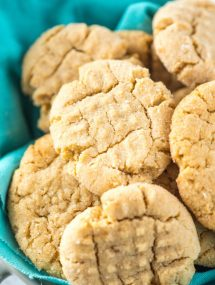 Easy homemade soft peanut butter cookies on blue napkin