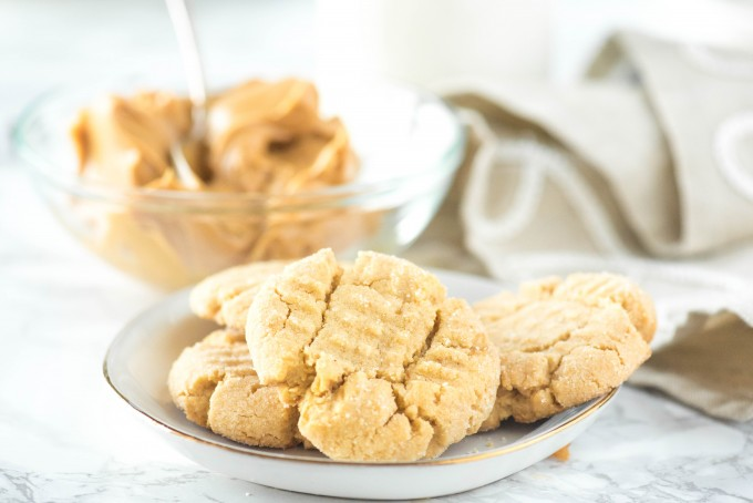 Soft Peanut Butter Cookies on a white plate