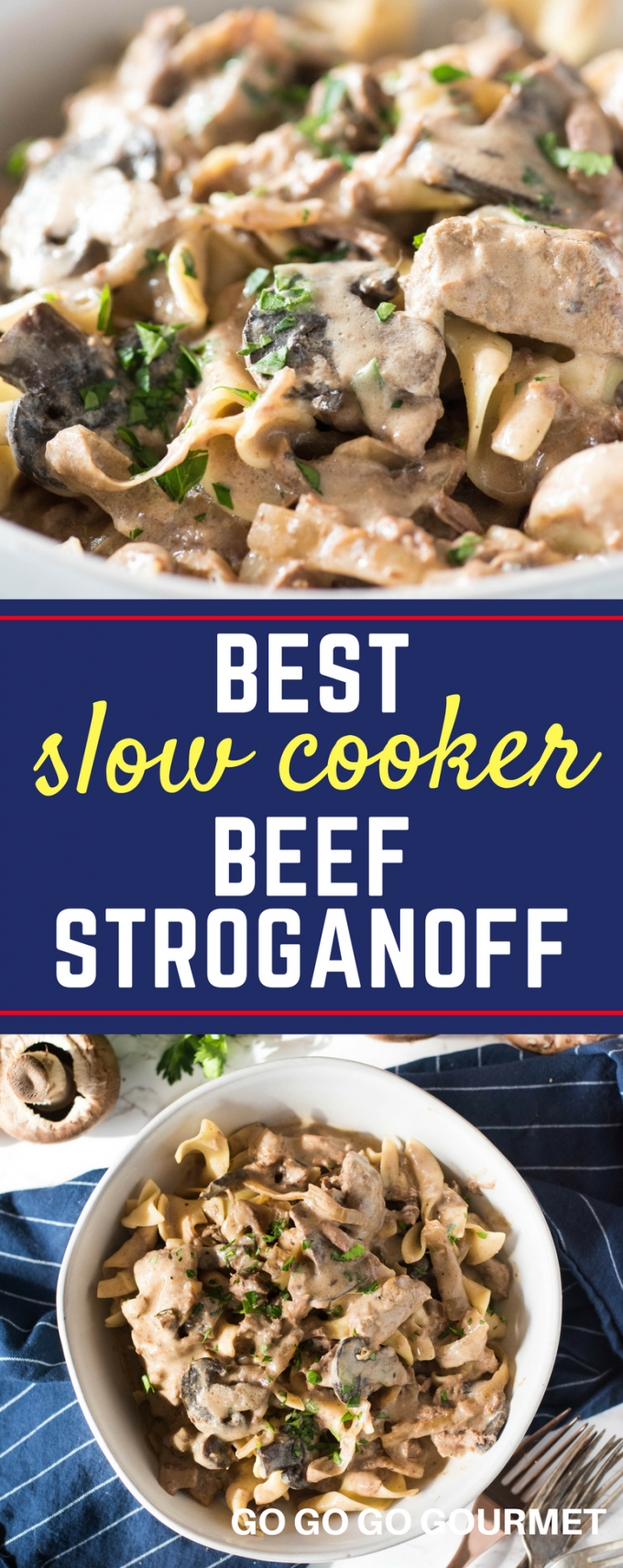 This slow cooker beef stroganoff recipe is the best! So easy to make, full of flavor and absolutely fork tender. No cream soups called for, but there's an adaptation if you want to use them! #gogogogourmet #beef #slowcooker #beefstroganoff #crockpot