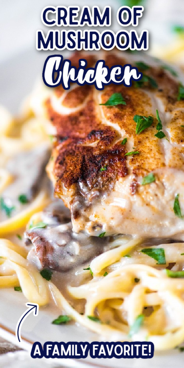 This easy Cream of Mushroom Chicken is one of my favorite recipes! Whether baked or made in the slow cooker or crockpot, this is a dinner that the whole family will love! It is great served with both pasta and rice. #creamofmushroomchicken #easychickendinners #easychickenrecipes #gogogogourmet via @gogogogourmet