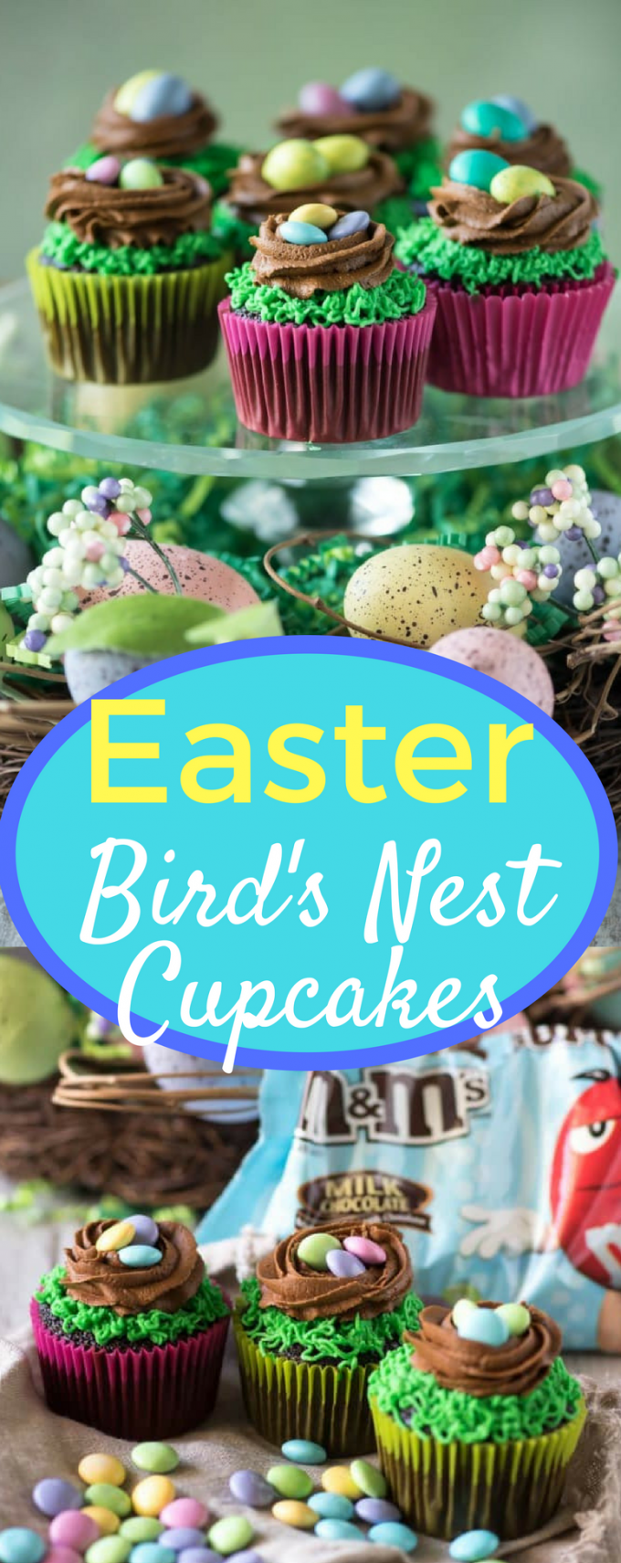 If you're looking for dessert ideas for Easter, this easy Bird's Nest Cupcakes recipe is it! The decoration is simple enough for kids to help with, yet elegant enough to put on a stand! #eastercupcakes #easterdessertideas #birdsnestcupcakes #easterbrunchideas #gogogogourmet