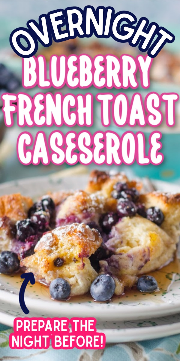 This easy Overnight French Toast Casserole is the perfect recipe for Easter brunch! Packed full of delicious blueberries, you can prepare this dish the night before, and then bake it in the morning! It would even taste great topped with a spread of cream cheese. #overnightblueberryfrenchtoast #easybrunchrecipes #weekendbreakfastrecipes #gogogogourmet via @gogogogourmet