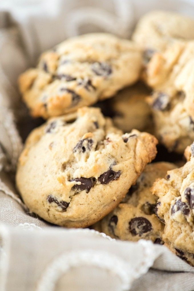 Basket full of Soft and chewy chocolate chip cookies