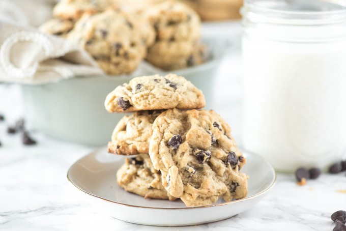 Soft Chocolate Chip Cookie Recipe on plate with glass of milk