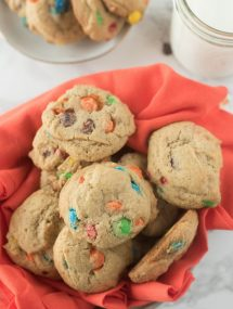 Best M&M cookies on red napkin