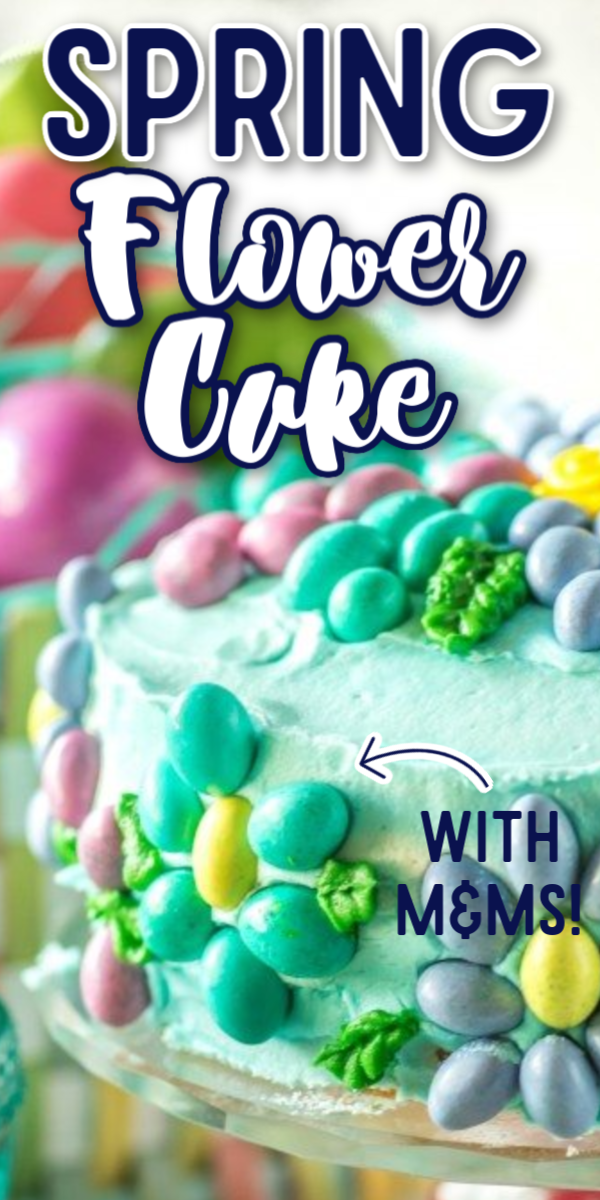 This simple Spring Flower Cake would make the perfect cake for any spring birthday or celebration! This beautiful cake is made easy by using buttercream instead of fondant, and the decorating ideas are endless! #easycaketutorials #springflowercake #easycakedesigns #springdesserts #gogogogourmet via @gogogogourmet