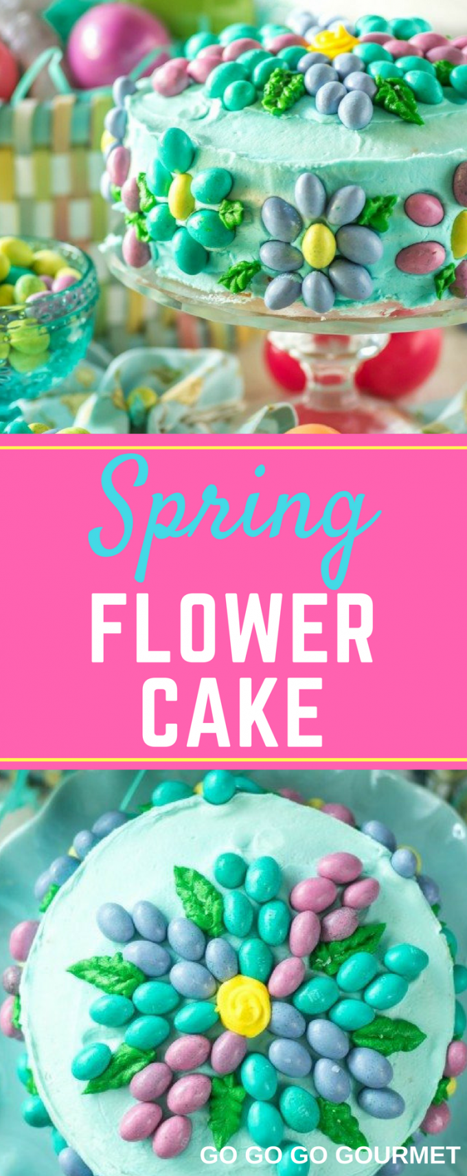 This simple Spring Flower Cake would make the perfect cake for any spring birthday or celebration! This beautiful cake is made easy by using buttercream instead of fondant, and the decorating ideas are endless! #easycaketutorials #springflowercake #easycakedesigns #springdesserts #gogogogourmet