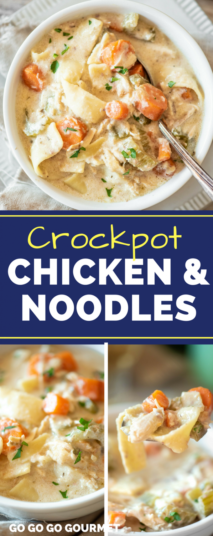 Easy Crockpot Chicken and Noodles- nothing beats home made! This recipe is comfort food at its finest, it's so creamy. Serve it on its own or over mashed potatoes! via @gogogogourmet