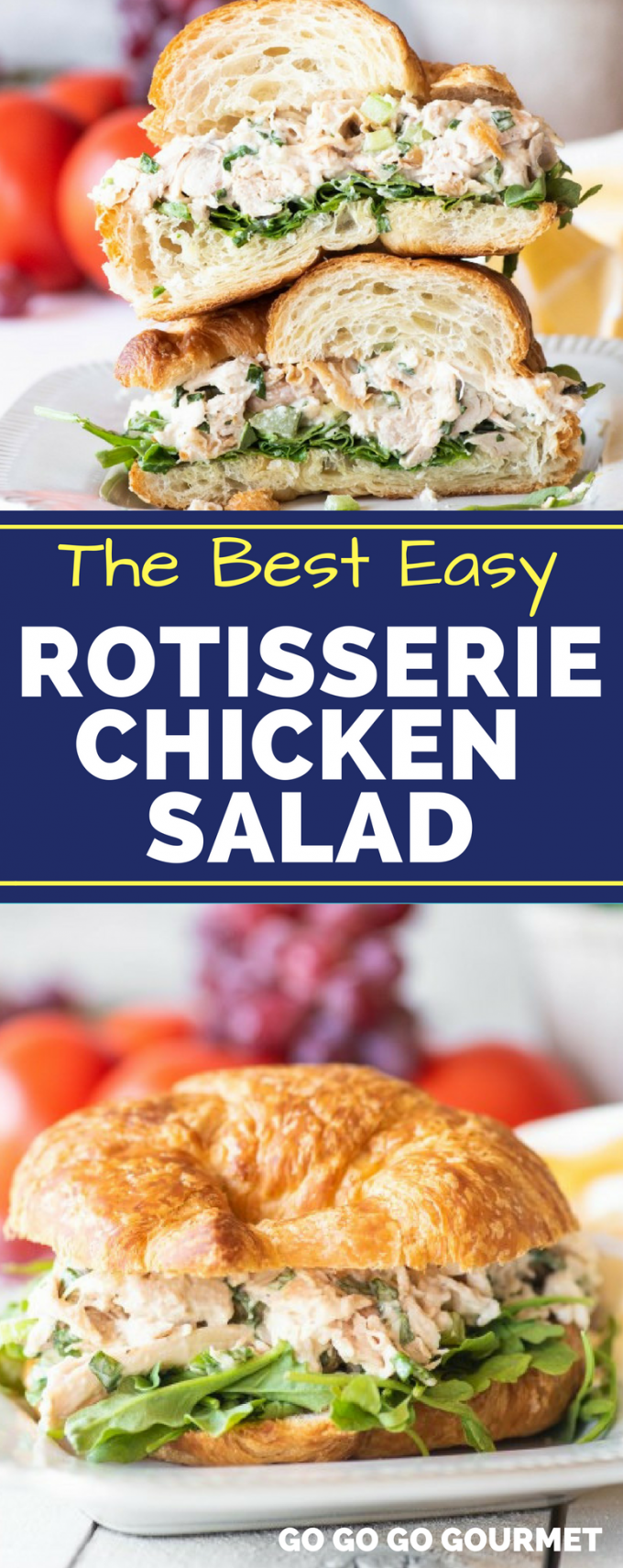 This is the best easy Rotisserie Chicken Salad recipe out there! Made creamy with Greek yogurt, yet crunchy with grapes and celery, this classic and simple sandwich is a great healthy lunch option! #rotisseriechickensalad #classicchickensalad #easychickensalad #gogogogourmet