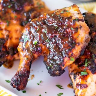 Close up of honey mustard grilled chicken on a plate
