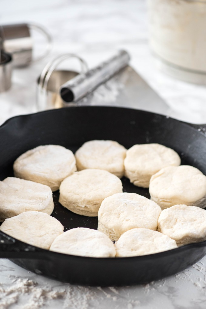 Cut buttermilk biscuits in cast iron pan