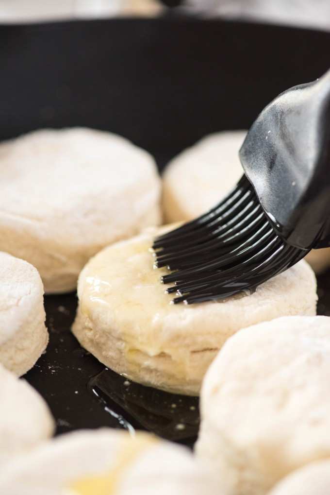 Easy homemade biscuits brushed with butter