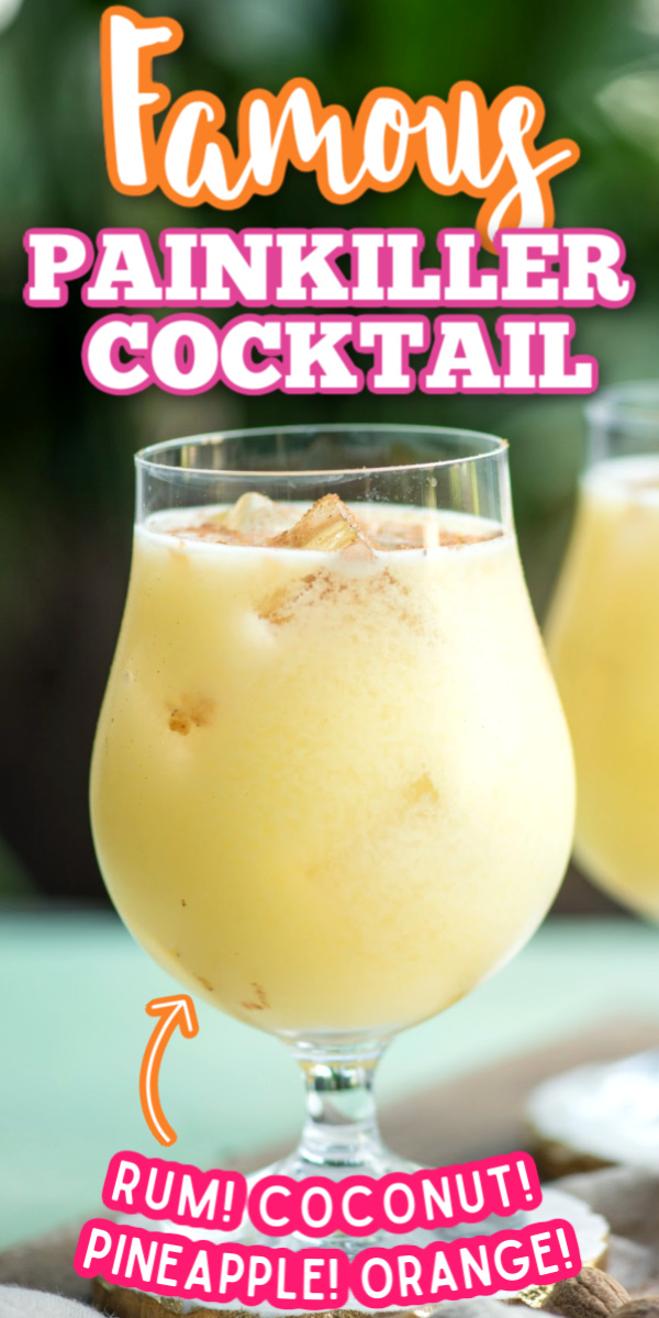 If you're looking for a great warm weather cocktail recipe, make these Painkiller Drinks! With coconut cream, pineapple juice, rum, and orange - what's not to love? #virginislands #painkillercocktail #easycocktailrecipes #summercocktails #gogogogourmet via @gogogogourmet