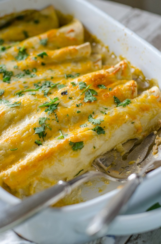Roasted Poblano Chicken Enchiladas