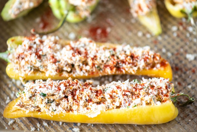 Stuffed banana peppers with hot sausage and goat cheese