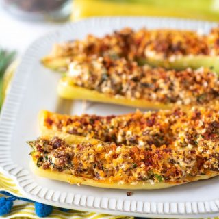 easy stuffed banana peppers with hot sausage and cheese