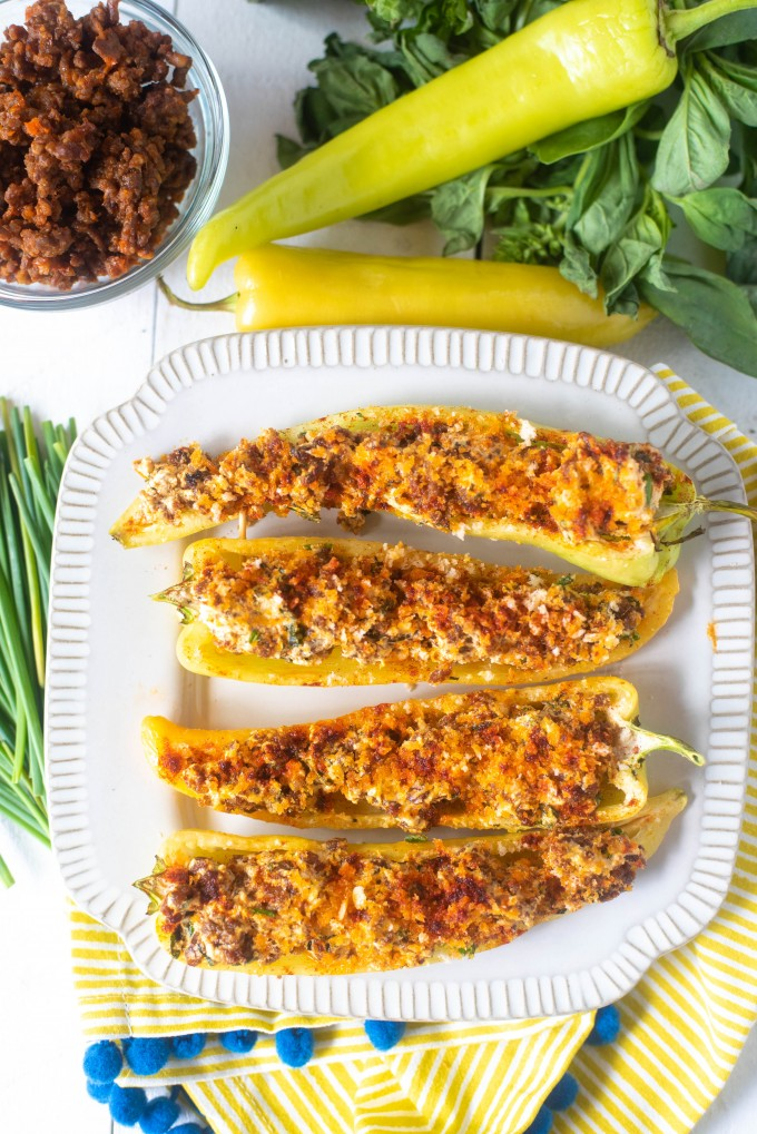 Stuffed banana peppers with sausage and cheese. perfect for a crowd!