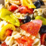 Close up of antipasto pasta salad