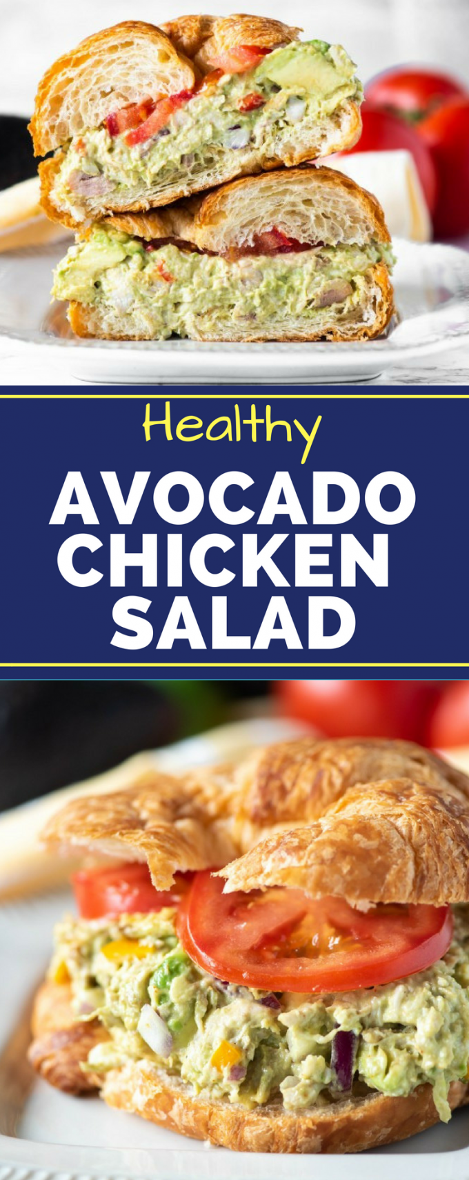 This easy, Healthy Avocado Chicken Salad recipe is the best! Rather than using no mayo, it uses avocado to replace half of it for an ultra creamy texture. You could even put it inside a lettuce wrap for a low carb option! #avocadochickensalad #healthychickensaladrecipes #healthyrecipes #gogogogourmet