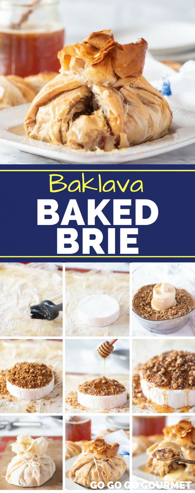 This easy Baklava Baked Brie will become one of your new favorite appetizer recipes! Made perfectly sweet form the honey, this recipe uses phyllo dough rather than puff pastry, to provide a nice crunch. #baklavabakedbrie #easybakedbrierecipes #easyappetizerrecipes #gogogogourmet