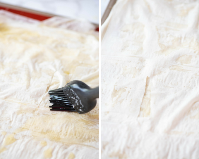 Basting Phyllo dough with butter, tips for working with phyllo