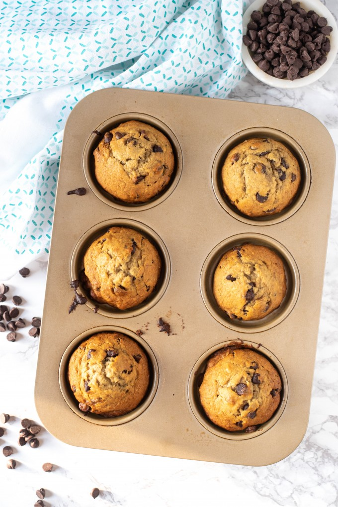 Simple banana chocolate chip muffins in a pan