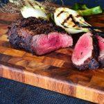 Grilled beef tenderloin on a cutting board