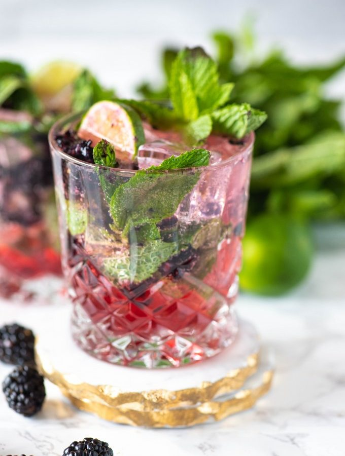 Close up of best blackberry mojito recipe