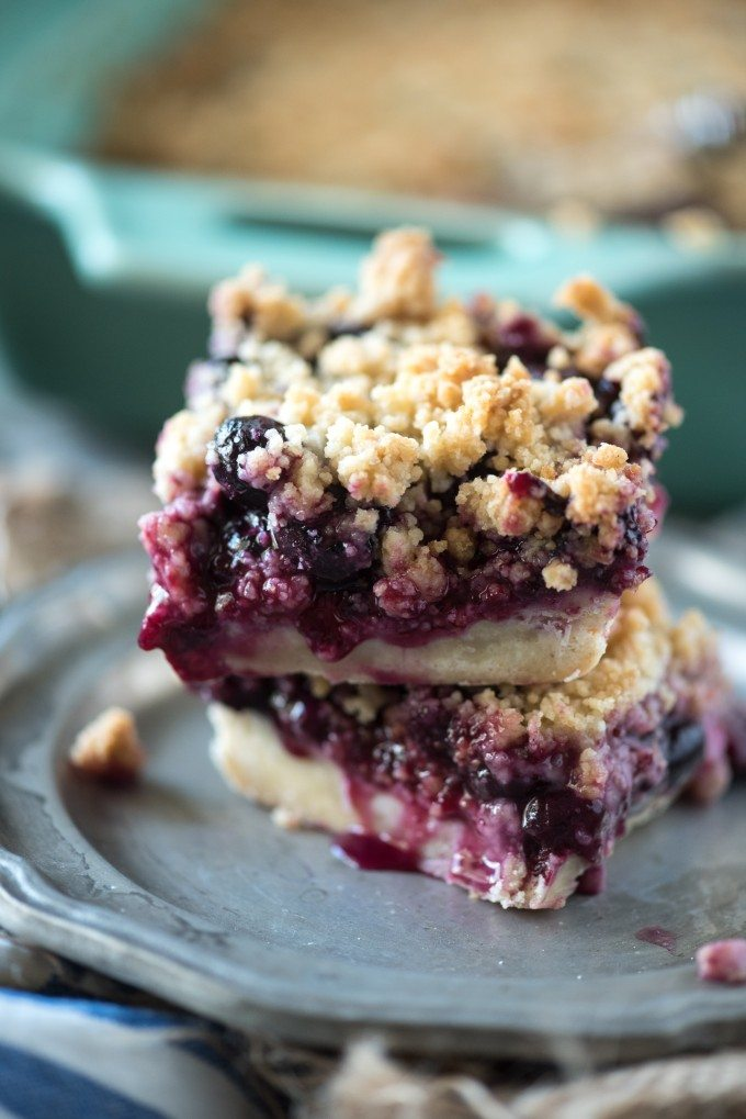 A stack of blueberry crumb bars