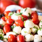 Caprese Salad in a blue bowl