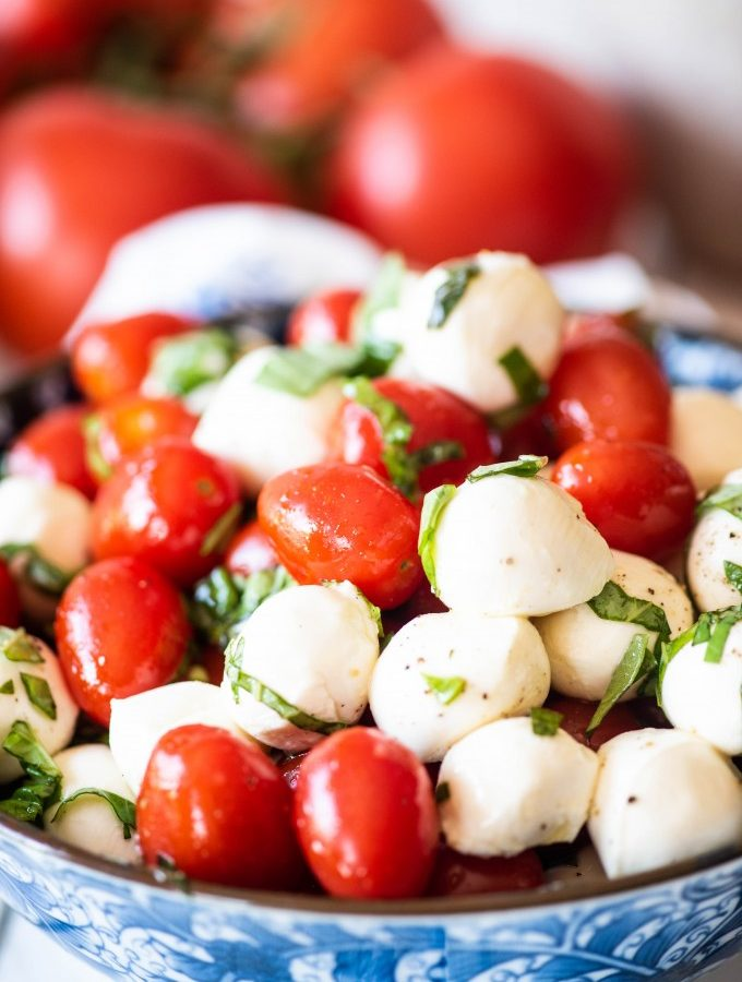 Caprese Salad in a blue bowl