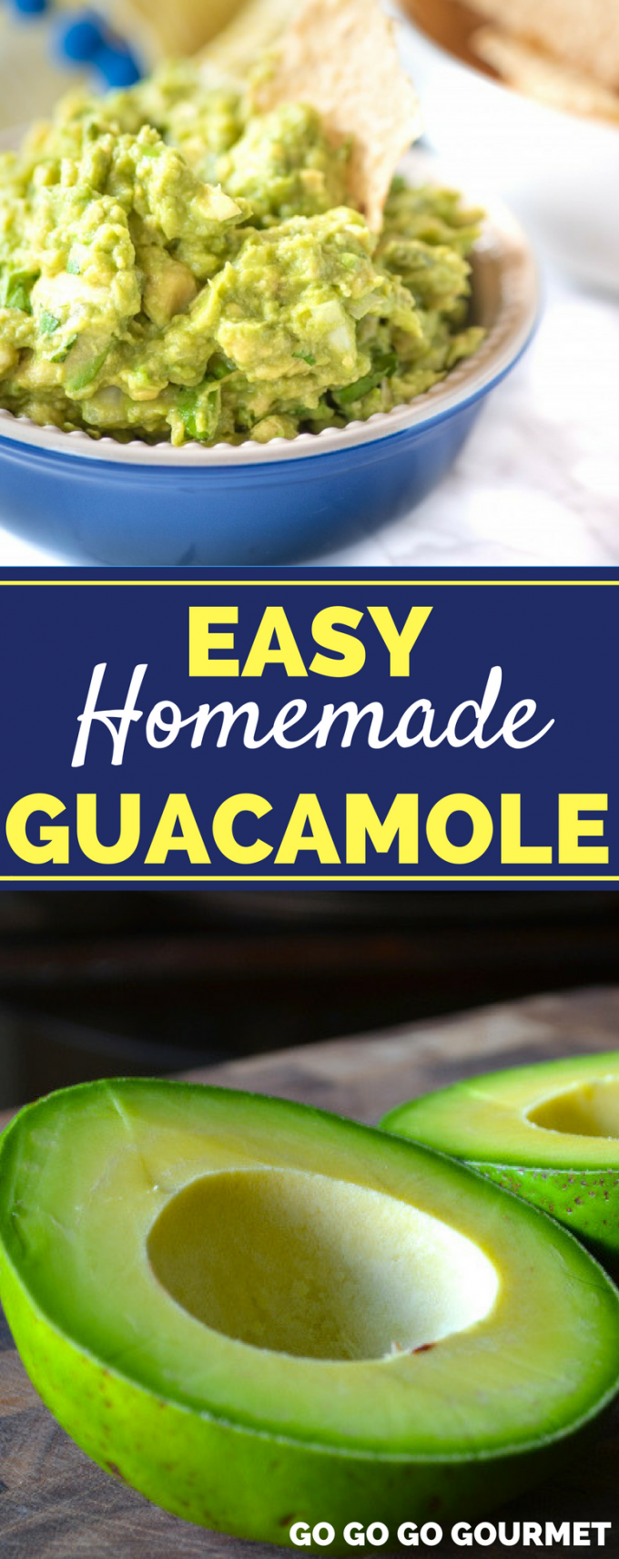 You are going to love how easy this Homemade Guacamole recipe is! Mexican style meals aren't complete without a bowl of chips and this dip. It's the perfect Chipotle copycat! #easyhomemadeguacamole #chipotleguacamole #authenticguacamole #gogogogourmet