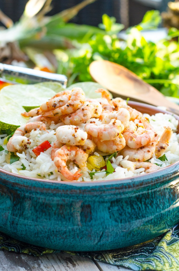 Honey Mustard Lime Shrimp in a blue bowl