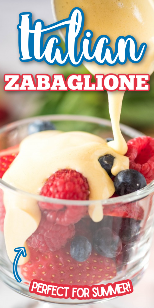 You are going to love this easy Authentic Italian Zabaglione recipe! Cool and creamy custard with berries and cake in a mini trifle. You can make this without wine, but I prefer to use marsala! #italianzabaglione #authenticitaliandesserts #easyzabaglionerecipe #gogogogourmet via @gogogogourmet
