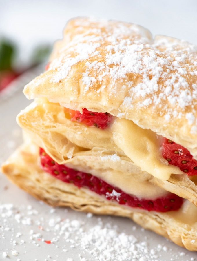 Close up of napoleon pastry