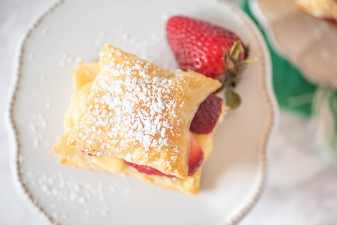 Easy Strawberry Napoleon Pastry Dessert from above