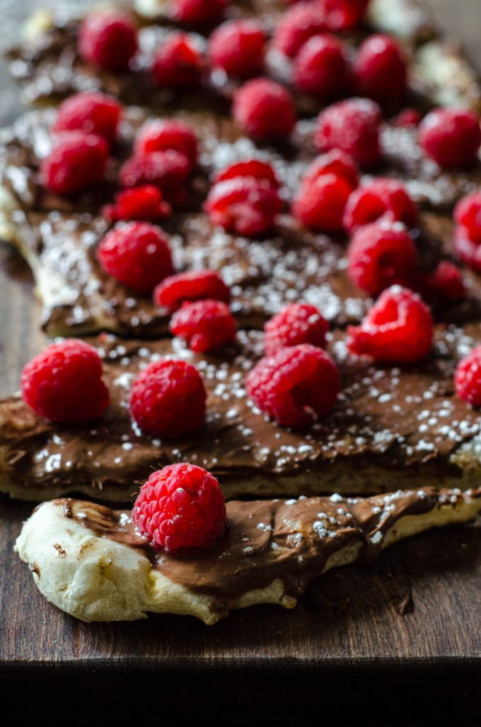 Close up of Nutella raspberry pizza