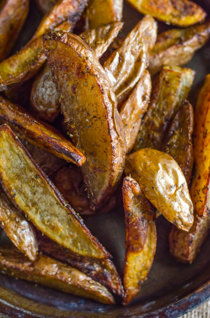 Close up of oven baked potato wedges