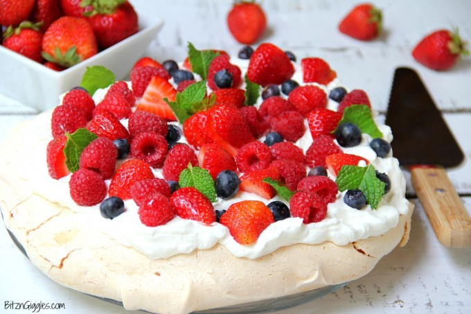 close up of red white and blue pavlova